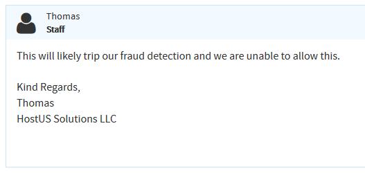 关于HostUS代购/代付款可能存在的风险因素