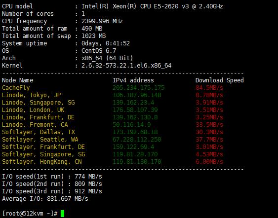 HostUS KVM下载速度测试